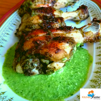 Goan Chicken Cafreal with Coriander Chutney